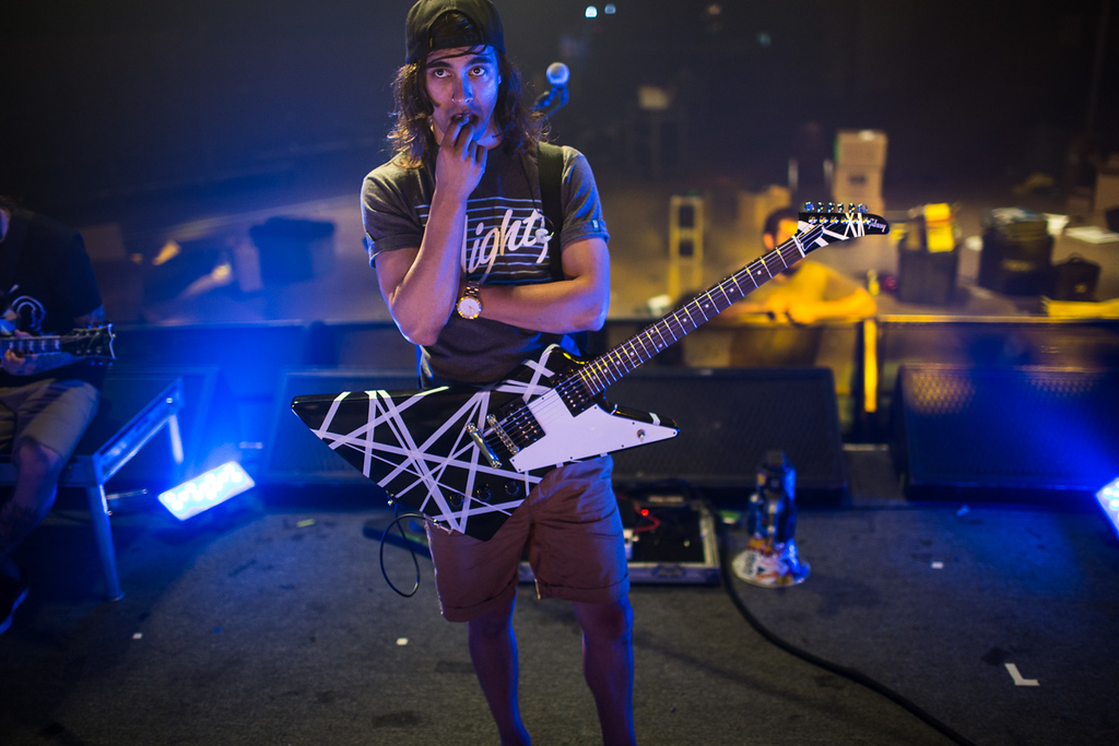 Vic Fuentes contemplating something in my direction