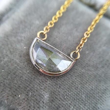 .67ct Half Moon Rose Cut Diamond 14kt WG Bezel Pendant Necklace,  YG chain