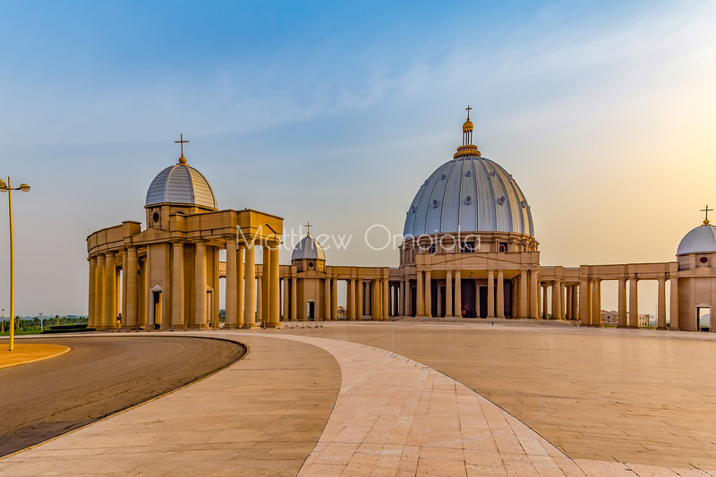 Left (West) side Basilica of Our Lady of Peace Basilique Notre Dame de la Paix Yamoussoukro Ivory Coast Cote d'Ivoire West Africa. The largest church in the world.