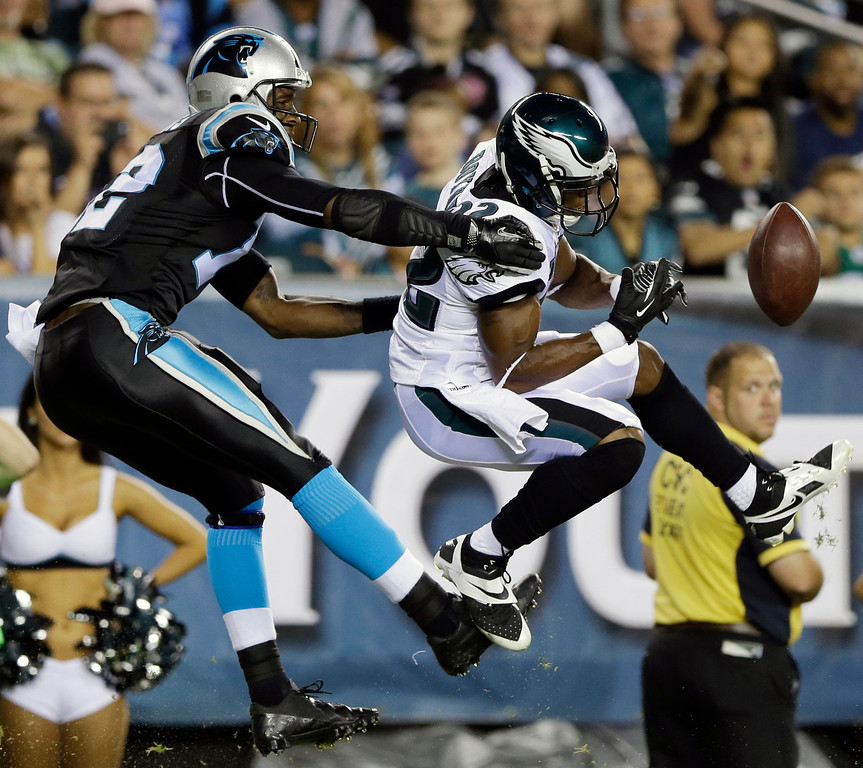 . Philadelphia Eagles cornerback Brandon Boykin, right, breaks up a pass intended for Carolina Panthers wide receiver David Gettis during the second half of a preseason NFL football game, Thursday, Aug. 15, 2013, in Philadelphia. (AP Photo/Matt Rourke)