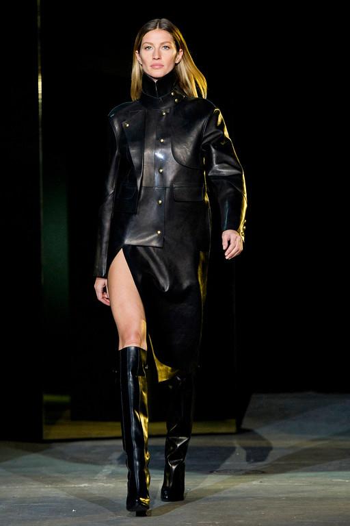 . Model Gisele Bundchen walks the runway in the Alexander Wang show during Fashion Week in New York, Saturday, Feb. 11, 2012. (AP Photo/Charles Sykes)