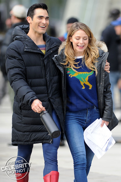 Melissa Benoist Fashions Dinosaur Sweater With Superman Tyler Hoechlin!