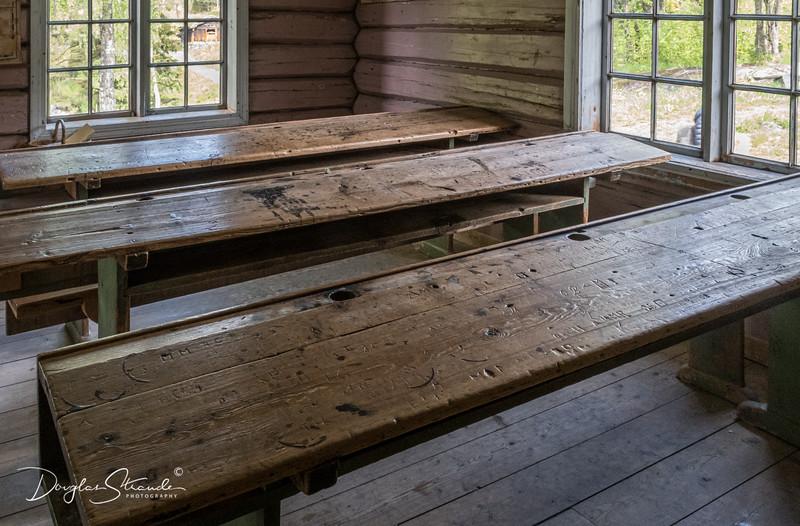 School desks at Maihaugen center