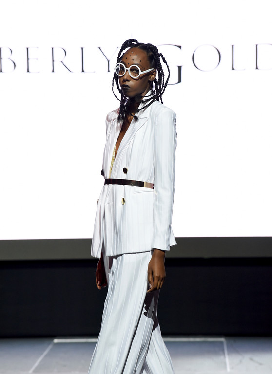 . The Kimberly Goldson collection is modeled at the Harlem Fashion Row show and awards ceremony before the start of New York Fashion Week, Tuesday, Sept. 4, 2018. (AP Photo/Diane Bondareff)