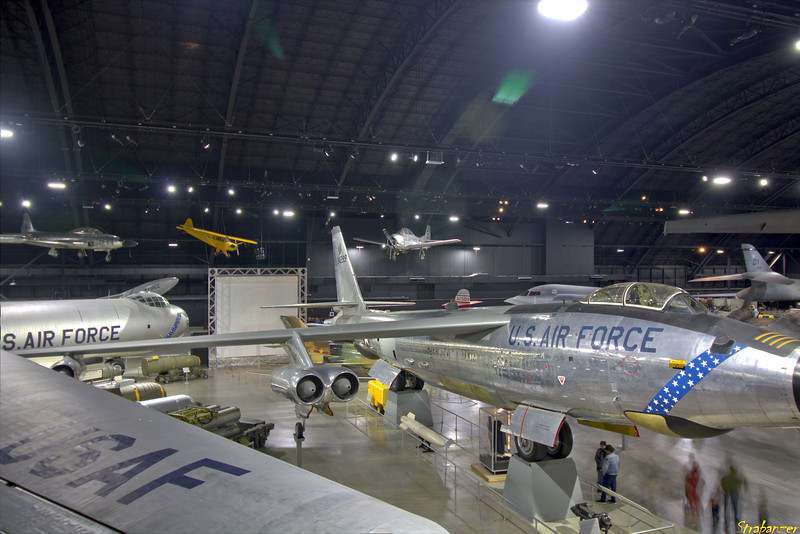 """National Museum of the United States Air Force, Dayton, Ohio,   04/13/2019  Overview of the """"Cold War"""" gallery Boeing RB-47H-1-BW Stratojet c/n 4501323 53-4299 . North American T-28A Trojan c/n 159-6 Lockheed T-33A-5-LO Shooting Star c/n 580-9456   53-5974 Piper L-4A Grasshopper (O-59A / J3C-65) c/n 8570 N42050 North American T-28A Trojan c/n 159-6  49-1494  This work is licensed under a Creative Commons Attribution- NonCommercial 4.0 International License."""