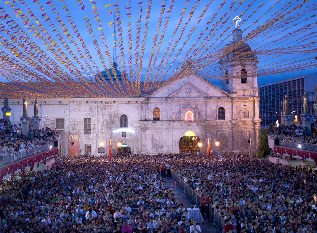 . This is a January 2011 file photo of the facade of Basilica de Sto. Nino (Basilica of the Holy Child) with its towering bell tower in Cebu city in central Philippines. On Tuesday Oct. 15, 2013 a 7.2-magnitude earthquake struck Cebu city toppling the bell tower of the Philippines\' oldest church and sending terrified residents into deadly stampedes. (AP Photo/Chester Baldicantos, File)