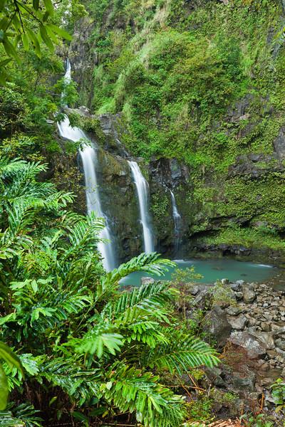 Three Bear Falls along the road to Hana