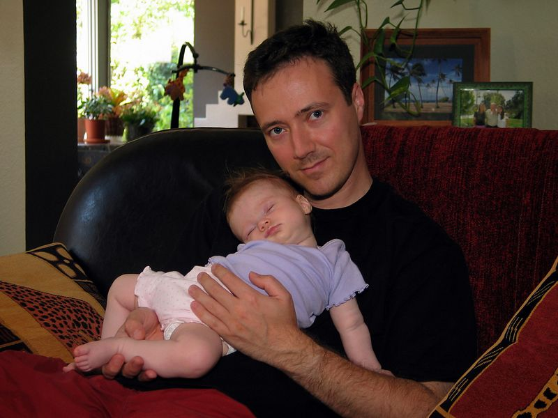 7/19 - Taking a nap on her Dad