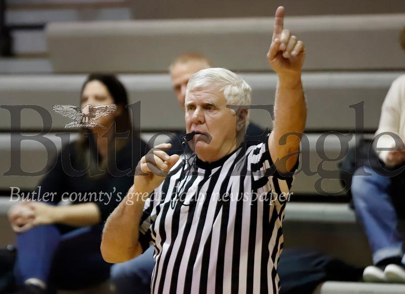 Ref Story  calling out 1 foul shot. Seb Foltz/Butler Eagle