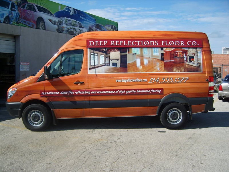 Vehicle Wrap installed on a Sprinter Van for Deep Reflections Floor Co. in Dallas, TX.   http://www.skinzwraps.com
