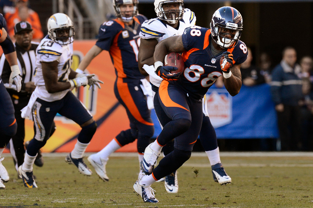 . Demaryius Thomas heads up field after pulling in a pass from Peyton Manning. (Joe Amon, The Denver Post)