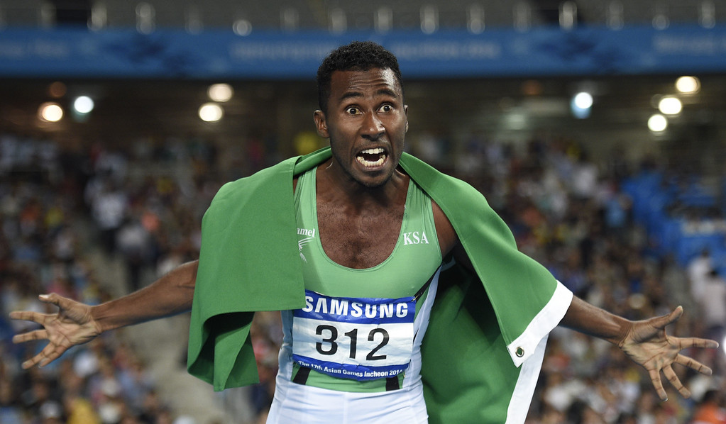 . TOPSHOTS Saudi Arabia\'s Yousef Ahmed Masrahi celebrates winning gold in the final of the men\'s 400m athletics event during the 17th Asian Games at the Incheon Asiad Main Stadium in Incheon on September 28, 2014.  MARTIN BUREAU/AFP/Getty Images