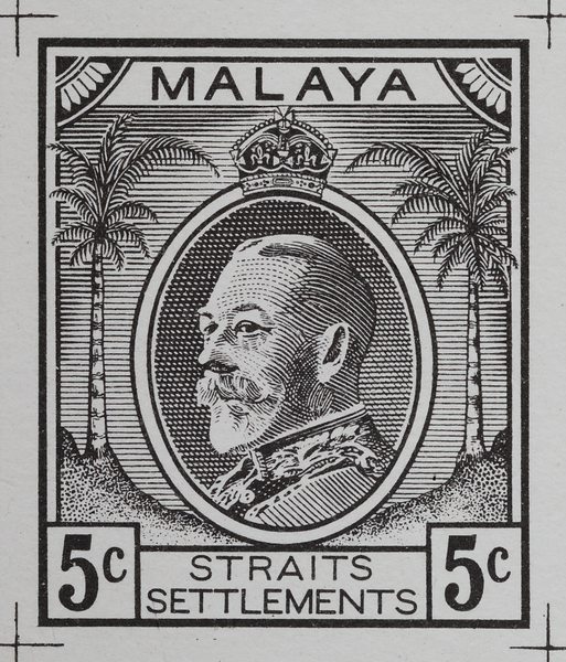Malaya Straits Settlements Survey Department essay King George V 1933–4 5c black zinc-plate lithography Norris Type V