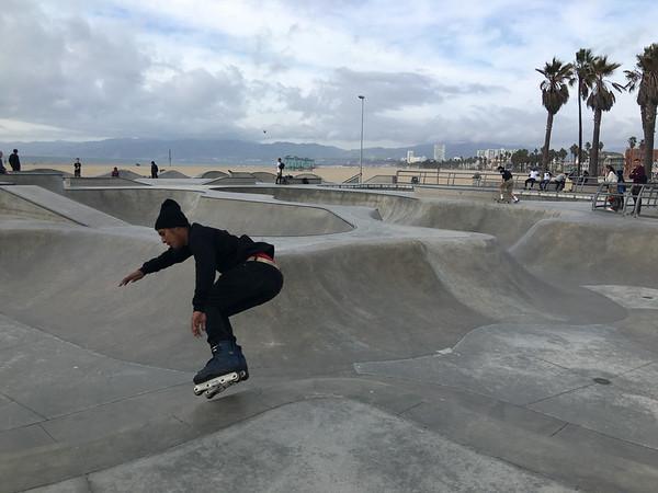 Roller blading on the skate park in Venice Beach