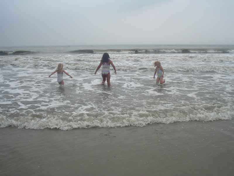 We went to the beach the  next day.. but the water was cold, the skies dark. Oh well! The kids went in partway anyway.