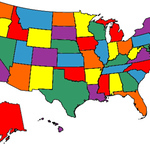 """Bud's """"States Visited"""" Map, March 2012."""
