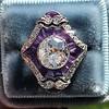 2.27ct (est) Art Deco Old European Cut Diamond with Amethyst Halo Ring 20