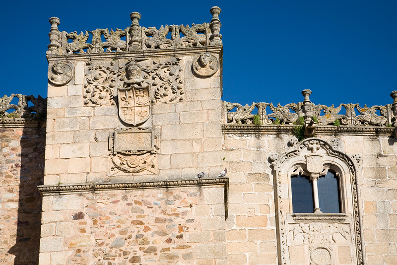 Detail from the facade of Golfines de Abajo palace, Caceres, Spain