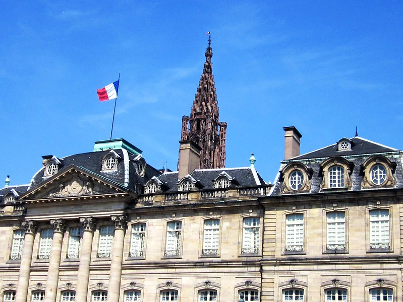 building with french flag