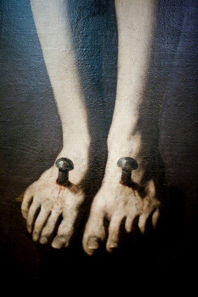 """Detail of the nailed feet of """"Dying Christ"""", painting by Zurbarán (17th century), Fine Arts Museum, Seville, Spain"""