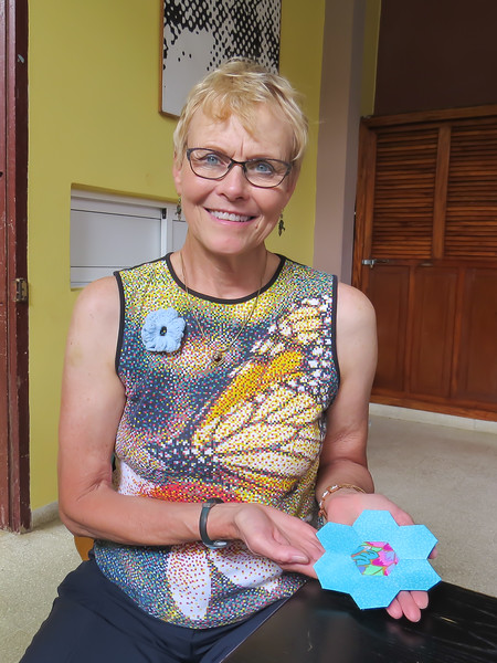 I learned to hand-sew 'hexies' in Cuba! Can't wait to show my quilt guild members at home in Baxter.
