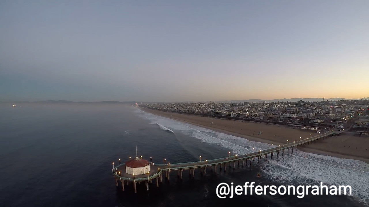 An overhead shot of the Manhattan Beach Pier, shot on a drone