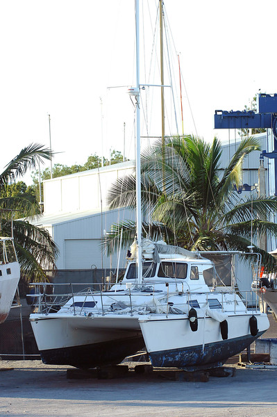 26 APR 2007 TOWNSVILLE, QLD - Catamaran Kaz II sits at a dry dock in Townsville - PHOTO: CAMERON LAIRD (Ph: 0418 238811)