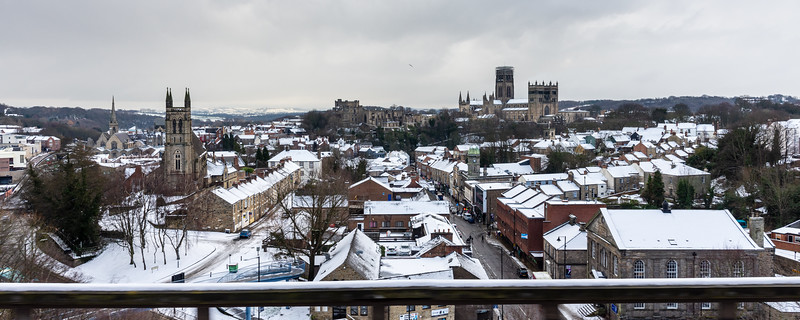 Cityscape of Durham in the snow