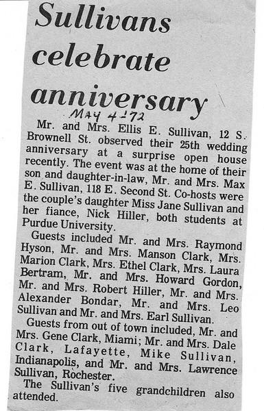 Newspaper clipping - Ellis & Eileen Sullivan 25th Wedding Anniversary Announcement.jpg