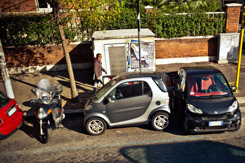 Smart cars parking in Rome