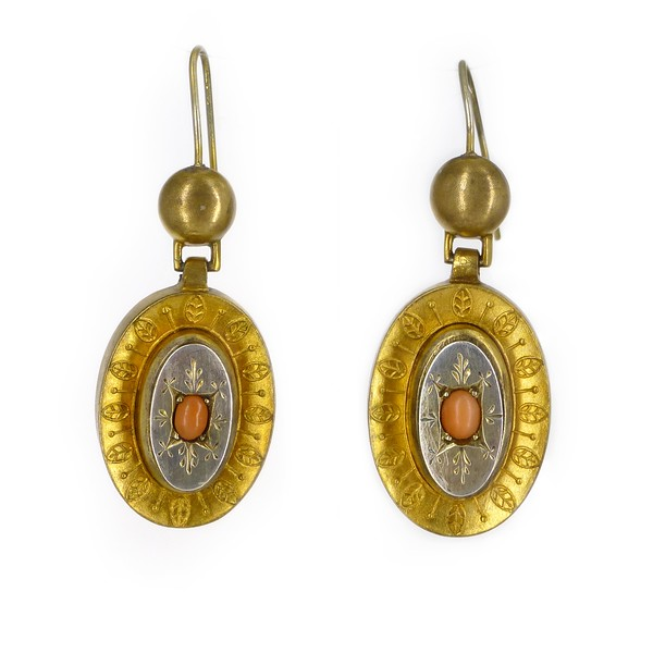Antique Victorian Gold Metal Silver Coral Engraved Drop Earrings