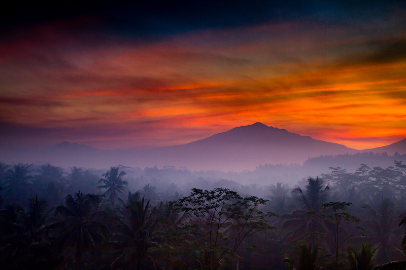 I was filming in Java for the BBC series 'Wonders of the Monsoon'... Eventually I found a window through the forest to shoot a timelapse of the sun rising over the active volcano of Mount Merapi #BBCEarth #EarthOnLocation #Indonesia #Java #Volcano #Twins #Sunrise #Misty #Morning