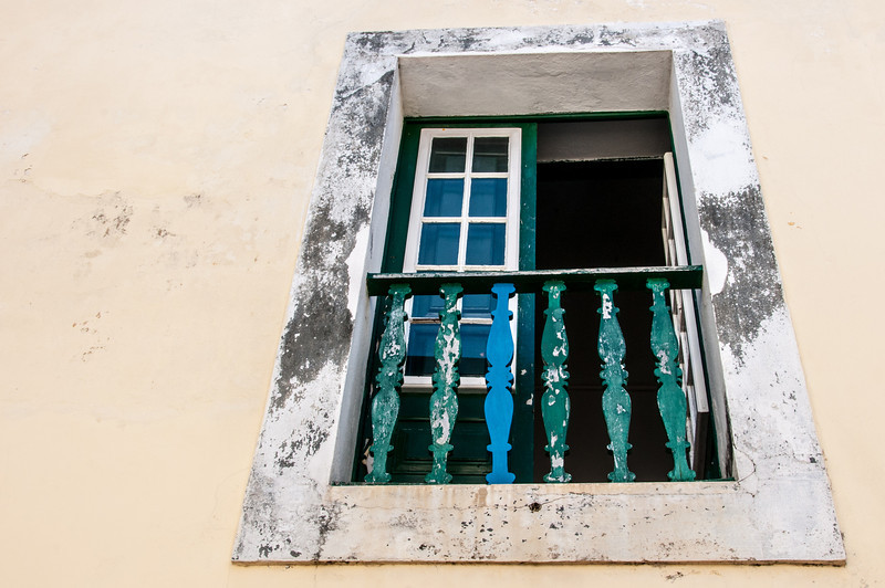 Looking up balcony in Sao Tome, Sao Tome and Principe