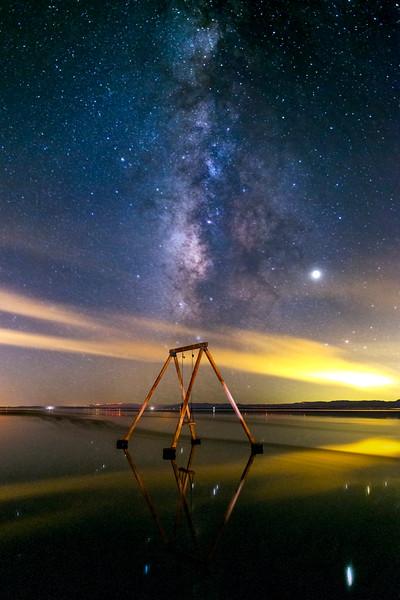 Ssippi's Salton Sea Swing Set Still Stands in the Still Serene Salton Sea on a Saturday in September.