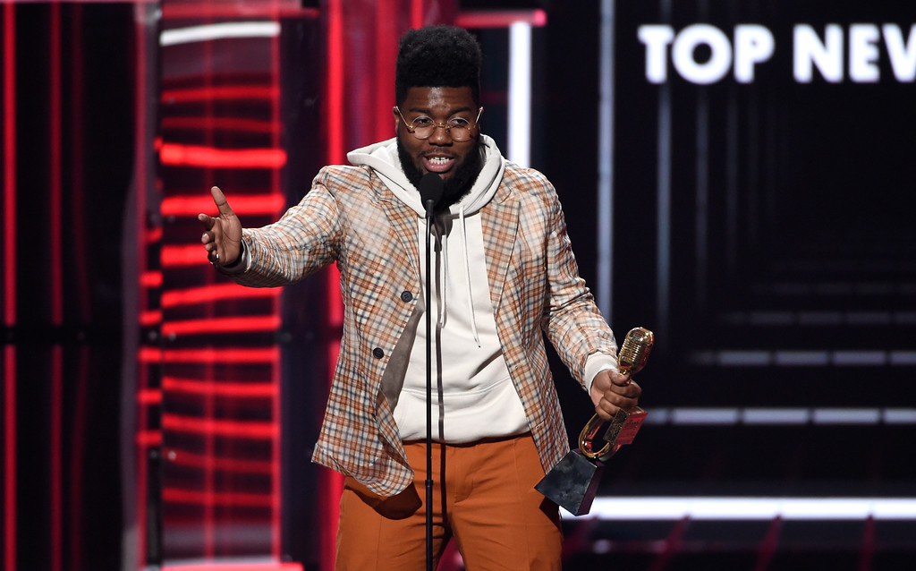 . Khalid accepts the award for top new artist at the Billboard Music Awards at the MGM Grand Garden Arena on Sunday, May 20, 2018, in Las Vegas. (Photo by Chris Pizzello/Invision/AP)