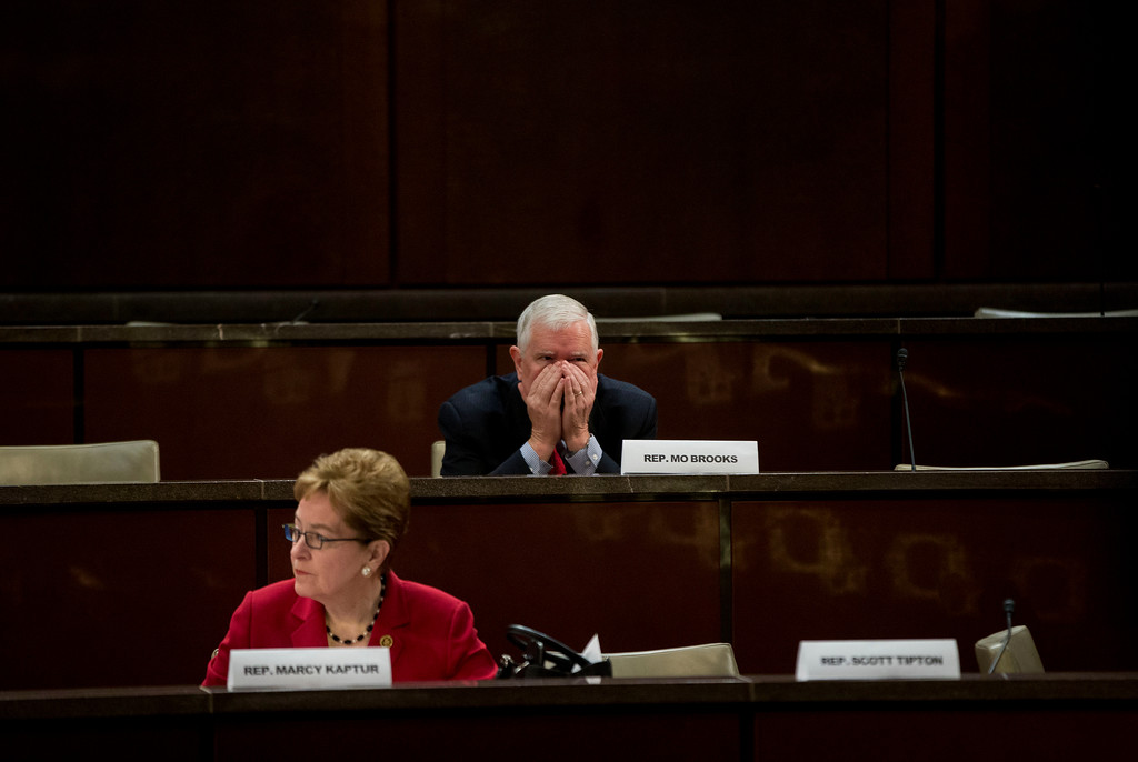 . Congressional Steel Caucus members, Rep. Mo Brooks, R-Ala., right, and Rep. Marcy Kaptur, D-Ohio., attend a hearing on the State of the U.S. steel industry with testimony from industry executives and labor representatives, Thursday, April 14, 2016, on Capitol Hill in Washington. (AP Photo/Pablo Martinez Monsivais)