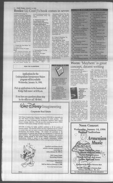 Daily Trojan, Vol. 133, No. 5, January 14, 1998