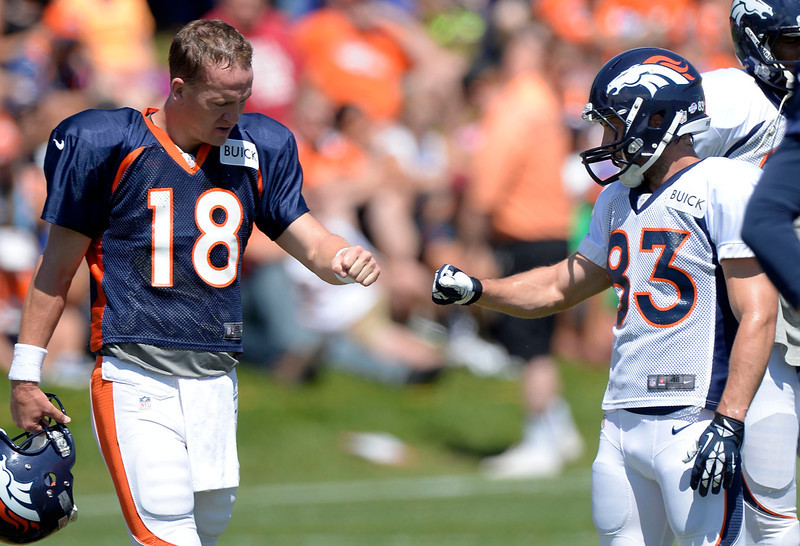 . Denver Broncos QB Peyton Manning gets a fist bump from WR Wes Welker (83)  during training camp August 12, 2013 at Dove Valley. (Photo By John Leyba/The Denver Post)