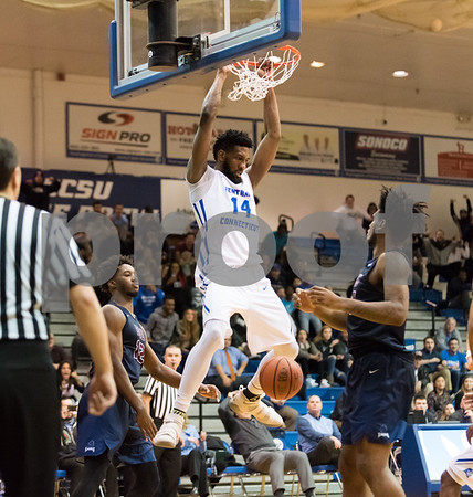 01/18/18 Wesley Bunnell | Staff CCSU Men's basketball defeated Fairleigh Dickinson University 66-65 at CCSU. Deion Bute (14) with the game winning dunk.