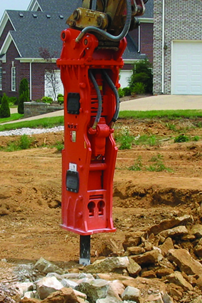 NPK GH9 hydraulic hammer on Cat excavator-site excavation (3).jpg