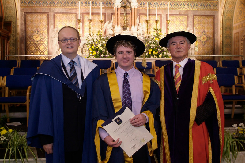 Pat Lynch, Kilmeaden, Co. Waterford (centre) with Dr. Tom O'Toole, Head of School of Business and Prof Kieran R. Byrne, Director, WIT as Pat was conferred with a PhD at the institute's conferring ceremonies. (photozone)
