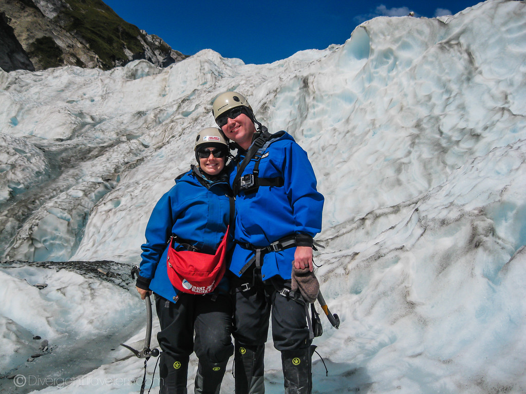 Divergent Travelers ice climbing in Franz Josef, NZ