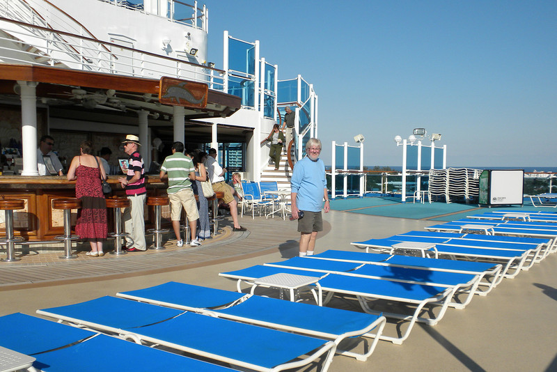Frank checks out the lounge chairs on the Lido deck