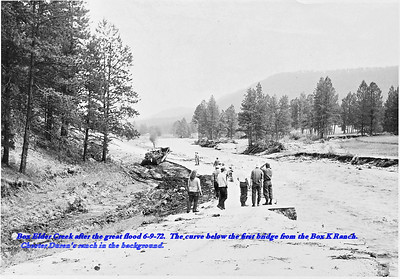 Box Elder Creek after the great flood 6/9/72.   The curve below the first bridge from the Box K Ranch.  Chester Duren's ranch in the background.