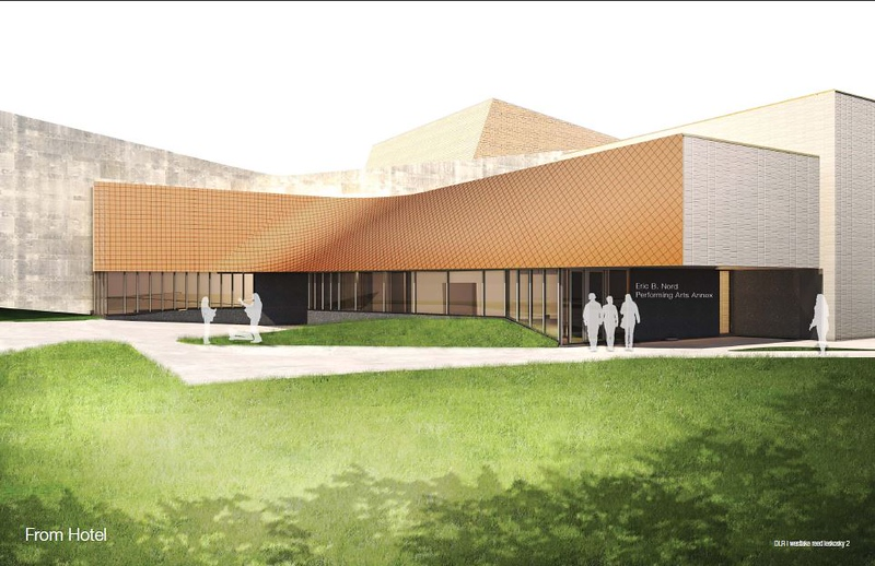 . Submitted photo � Oberlin Summer Theater Festival <br> This rendering shows the final look of the new Eric Baker Nord Performing Arts Annex, under construction now off the south side of Oberlin College\'s Hall Auditorium, 67 N. Main St., Oberlin.