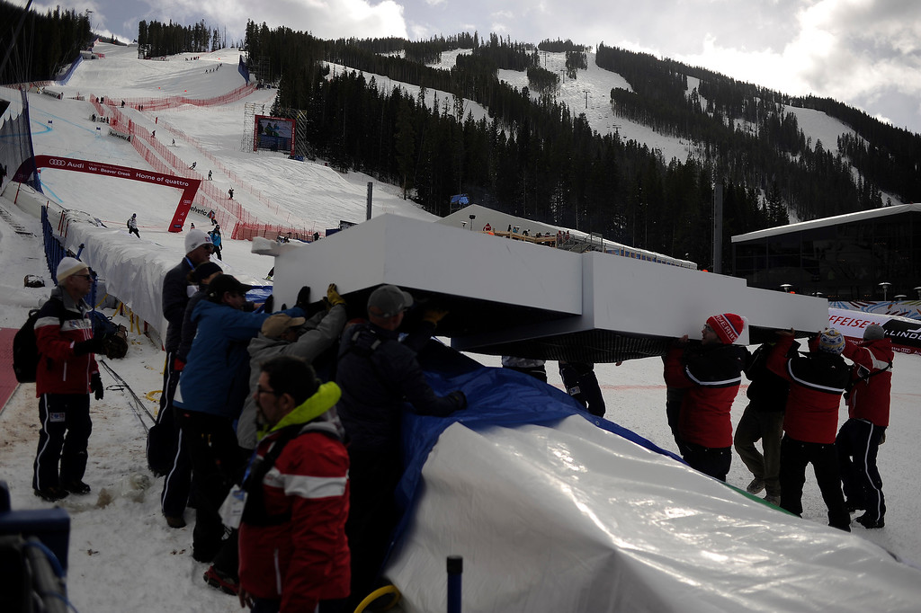 . BEAVER CREEK, CO - FEBRUARY 03: Workers move the podium for the medals ceremony during the the ladies\' super-G final. FIS Alpine World Ski Championships 2015 on Tuesday, February 3, 2015. (Photo by AAron Ontiveroz/The Denver Post)