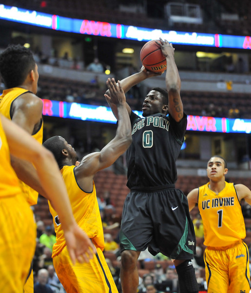 Cal Poly men's basketball takes on UC Irvine during the Big West Tournament semifinal in Anaheim, California.  Mar. 14, 2014. Ian Billings   Staff Photographer
