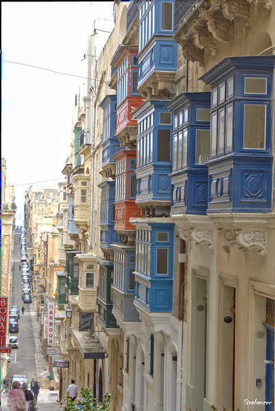 Valletta, Malta.     Looking down on St Ursula Street      