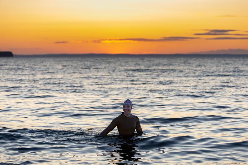 Sarah Hiscock Tickle Swim salt water practice with wetsuit in CBS