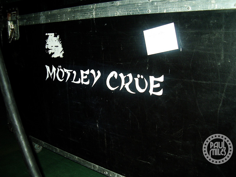 A Motley Crue road case in Japan, emblazoned with the band's New Tattoo asian style logo.